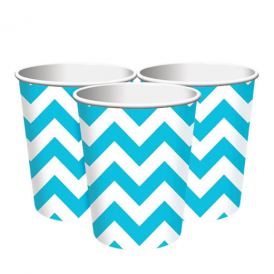 Amscan Turquoise Chevron Cups
