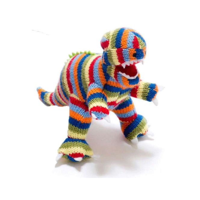 Best Years Mini T Rex Rattle Striped