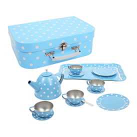 Big Jigs Tin Tea Set Blue Polka Dot