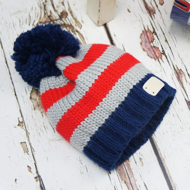 Blade & Rose Bobble Hat Blue & Grey