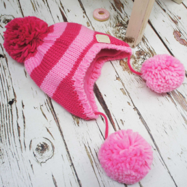 Blade & Rose Bobble Hat Pink Stripe