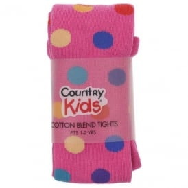Country Kids Cotton Tights Hot Pink Dots