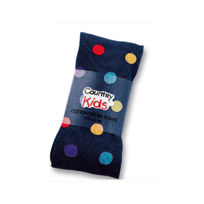 Country Kids Cotton Tights Navy Dots