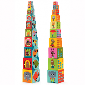 Djeco Stacking Cubes 10 Vehicle Blocks