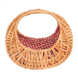 Egmont Wicker Basket Oval With Red Vichy