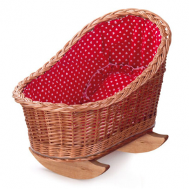 Egmont Wicker Cradle Natural Red/White Lining