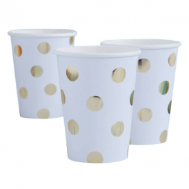 Ginger Ray White & Gold Dots Cups
