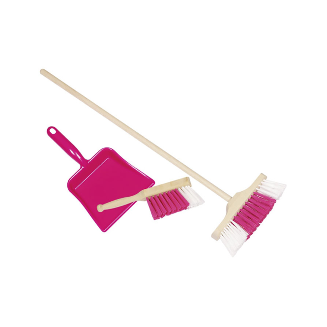 Goki Broom, Dustpan & Brush Pink