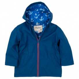 Hatley Boys Splash Jacket Navy Anchors