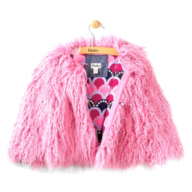 Hatley Girls Jacket Pink Faux Fur