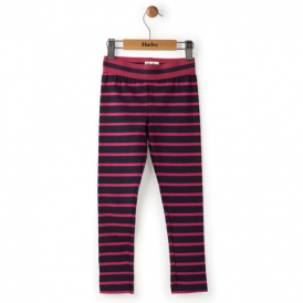 Hatley Girls Leggings Navy & Fuchsia Stripe