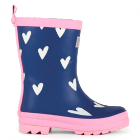 Hatley Girls Wellies Navy Heart