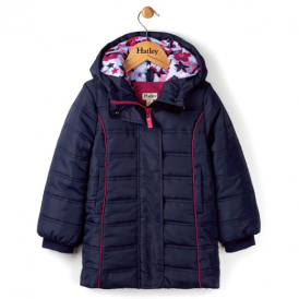 Hatley Girls Winter Coat Navy Puffer