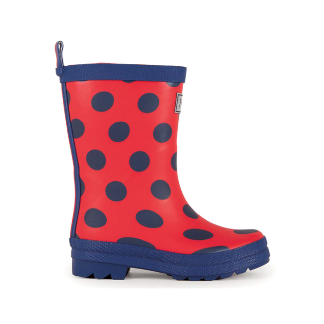 Hatley Wellies Red & Navy Dots