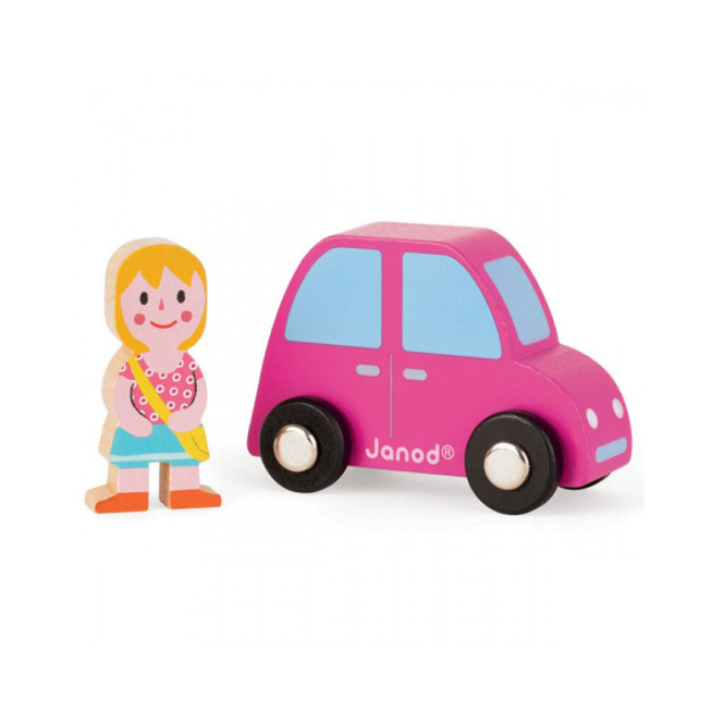 Janod Story Set City Pink Car & Girl