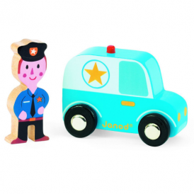 Janod Story Set City Police Car & Policeman