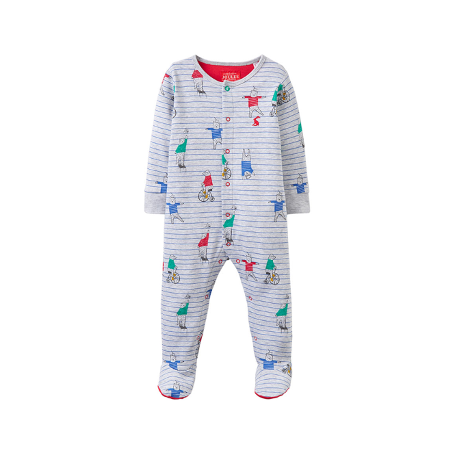 Joules Baby Boy Romper Grey Bear BabyZiggy
