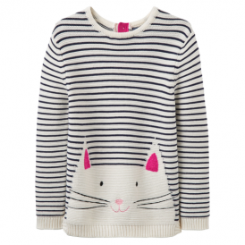 Joules Baby Girl Jumper Intarsia Stripe Cat YngWinnie
