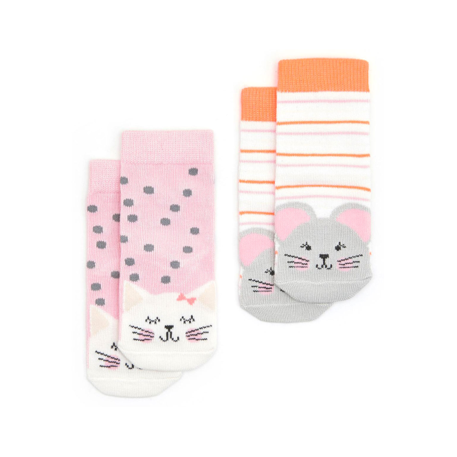 Joules Baby Girl Socks 2 Pack Cat Mouse BabyNeatFeetG