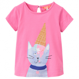 Joules Baby Girl T-Shirt Pink Cat InfPixie