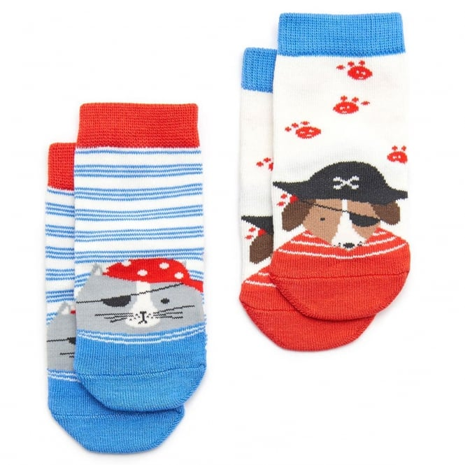 Joules Baby Neat Feet Two Pack Character Socks in CREAM CAT DOG
