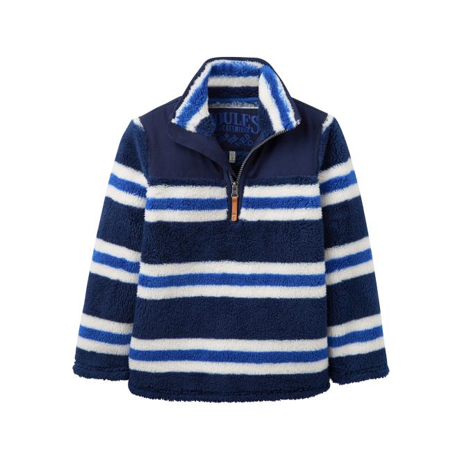Joules Boys Fleece Navy & Blue Stripe JnrWoozle