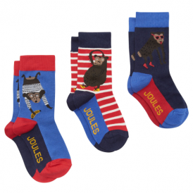 Joules Boys Socks 3 Pack Monkey JnrBamb3PkB