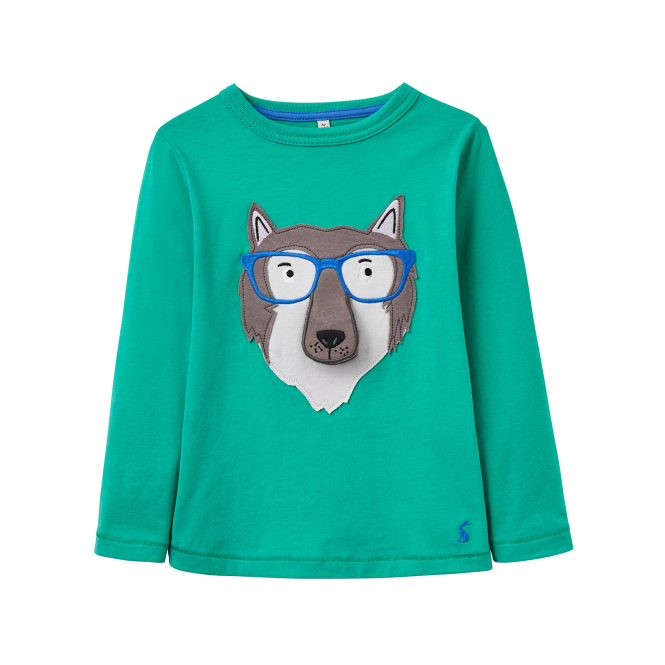 Joules Boys Top Green Wolf YngChomp