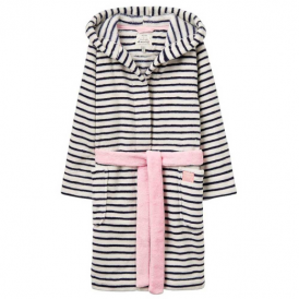 Joules Girls Dressing Gown Navy Stripe OdrTeddy