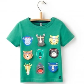Joules T-Shirt Apple Green Animals YngChomperB