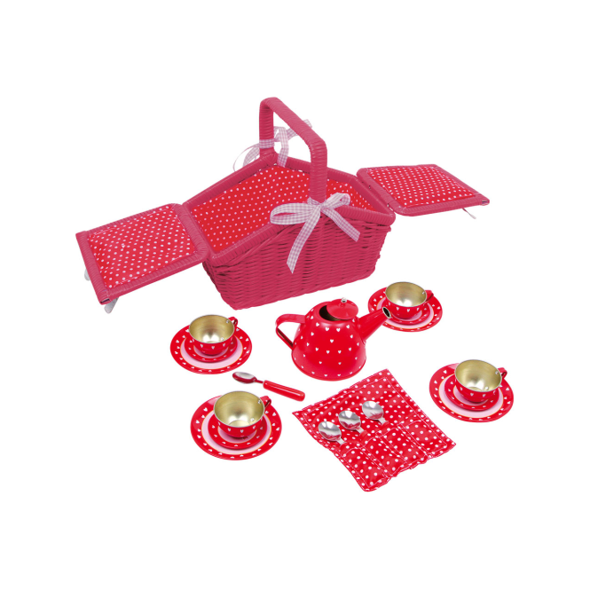 Legler Picnic Basket Red Polka Dot