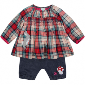 Lilly and Sid Baby Dress & Bloomers Woven Check