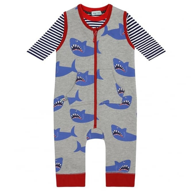 Lilly and Sid Baby Dungaree Set Shark
