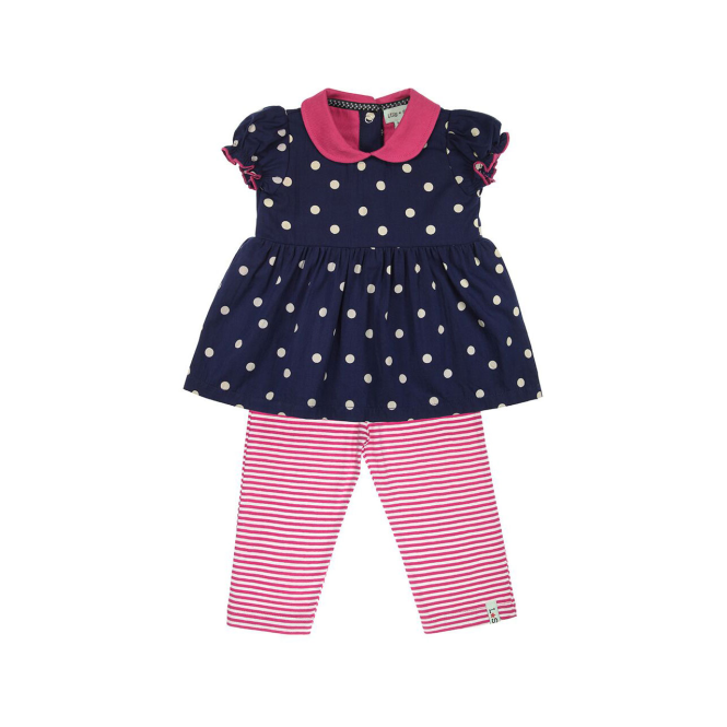 Lilly and Sid Baby Girl Dress and Leggings Navy Dot