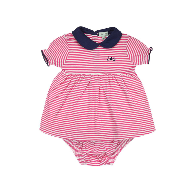 Lilly and Sid Baby Girl Dress and Pant Set Pink Stripe