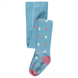 Lilly and Sid Baby Girl Tights Blue Dotty