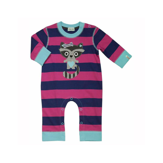 Lilly and Sid Baby Girls Romper Doris Raccoon Applique