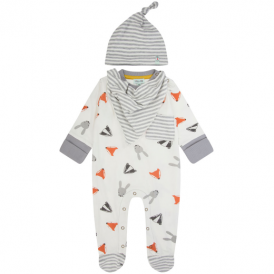 Lilly and Sid Baby Romper, Hat & Bib Woodland