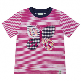Lilly and Sid Girls T-Shirt Butterfly Stripe