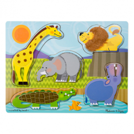 Melissa & Doug Touch and Feel Puzzle Zoo Animals