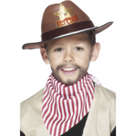 Smiffys Cowboy Hat Brown with Badge and Cord