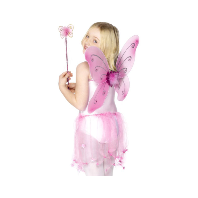 Smiffys Pink Butterfly Wings with Wand