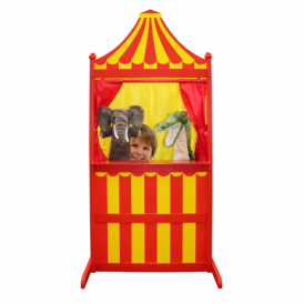 The Puppet Company 3 in 1 Puppet Theatre Red and Yellow