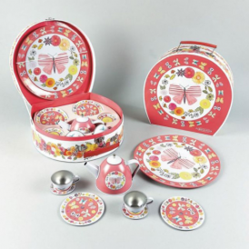 Think Pink Tin Tea Set Butterfly