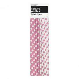 Unique Pink Dots Straws
